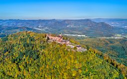Aerial panorama of the Chateau du Haut-Koenigsbourg in the Vosges mountains. Alsace, France. Aerial panorama of the Chateau du Haut-Koenigsbourg in the Vosges Royalty Free Stock Photo