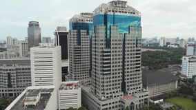 Aerial panorama of the city center with skyscrapers Jakarta. Indonesia. Aerial panorama of the city center with skyscrapers Jakarta. Indonesia stock video footage