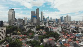 Aerial panorama of the city center with skyscrapers Jakarta. Indonesia. Aerial panorama of the city center with skyscrapers Jakarta. Indonesia stock video