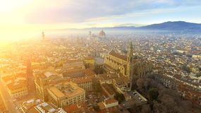 AERIAL. Panorama of the city of FLORENCE in Italy with the dome and Palazzo della Signoria and arno river stock photos
