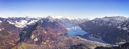 Aerial panorama city of Interlaken and Brienz lake Stock Photography