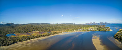 Aerial panorama of Coles Bay and The Hazards, Tasmania. Stock Photo