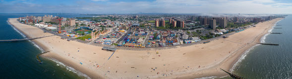 Aerial panorama Coney Island stock images