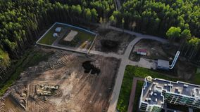 Aerial panorama on construction site and boiler station near apartment complex stock video footage