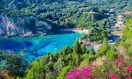 Aerial panorama of Corfu island stock photos