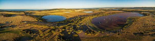 Aerial panorama of Discovery Lagoon swamp at sunset. Kangaroo Is Stock Photography