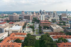 Aerial Panorama of Downtown Austin and Texas State Capitol From UT Austin Main Building  (Tower) Royalty Free Stock Photography