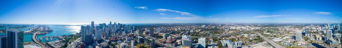 Aerial panorama Downtown Miami logos removed. Aerial 360 panoramic image of Downtown Miami Florida USA  deep blue sky Stock Photo