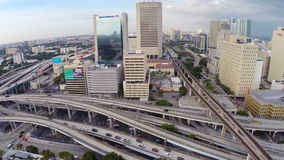 Aerial panorama of Downtown Miami stock video