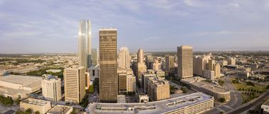 Aerial panorama of downtown Oklahoma City at dawn. stock images