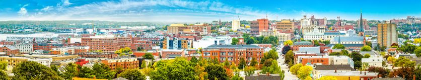 Aerial panorama of downtown Portland, Maine stock images
