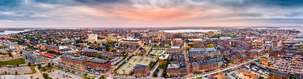 Aerial panorama of downtown Portland, Maine stock image