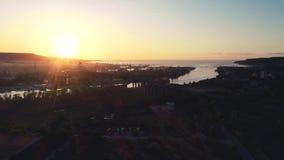 Aerial panorama drone view of Asparuhov bridge. Varna, Bulgaria.  stock footage