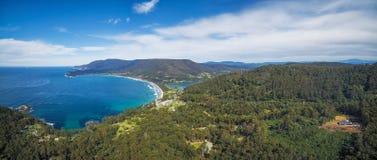 Aerial panorama of Eaglehawk Neck, Tasmania. Aerial panorama of Eaglehawk Neck, East Coast, Tasmania, Australia Royalty Free Stock Images