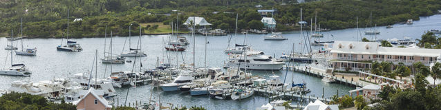 Aerial panorama of Elbow Cay, Bahamas. Aerial panorama of harbor in Elbow Cay, Bahamas Stock Photography