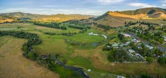 Aerial panorama of Eskdale and Mitta Mitta Valley, Australia Royalty Free Stock Photos