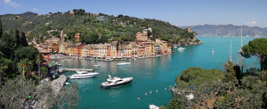 Aerial panorama of famous Portofino. Royalty Free Stock Photo