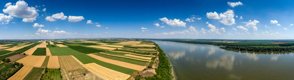 Aerial panorama of fields and Danube Stock Image