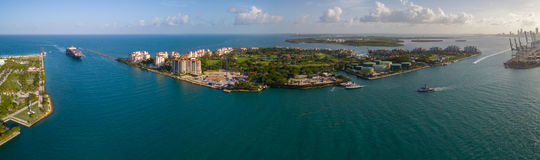 Free Aerial Panorama Fisher Island Miami Beach Stock Photography - 94560082