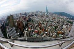 Aerial panorama  fisheye view  over Taipei, capital city of Taiwan, with Taipei 101 Tower among skyscrapers royalty free stock image