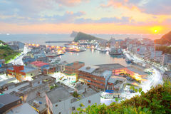 Aerial panorama of a fishing village Yehliu at dawn on northern coast of Taipei Taiwan ~ Royalty Free Stock Photography