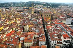 Aerial panorama of Florence old town from the top of Florence Cathedral   Il Duomo di Firenze  with a view of crowded houses Stock Photo