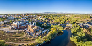 Aerial panorama of Fort Collins downtown Stock Images