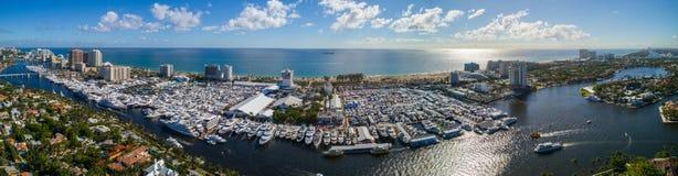 Aerial panorama 2017 Fort Lauderdale boat show stock image