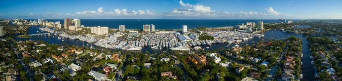 Aerial panorama Fort Lauderdale International Boat Show 2017 Stock Photos