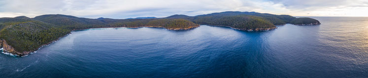 Aerial panorama of Fortescue bay, Tasmania Royalty Free Stock Photos