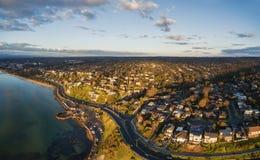 Aerial panorama of Frankston coastline. Aerial panorama of Frankston and Olivers Hill suburb and Mornington Peninsula coastline at sunset. Melbourne, Victoria Stock Images
