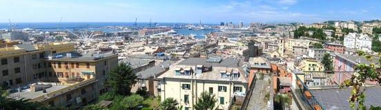 Aerial panorama of Genoa, Italy royalty free stock photos