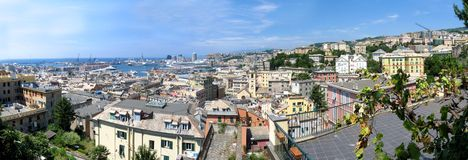 Aerial panorama of Genoa, Italy Royalty Free Stock Image