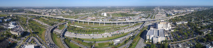 Aerial panorama of the Golden Glades Interchange Miami FL. Aerial image of a highway interchange Royalty Free Stock Photography