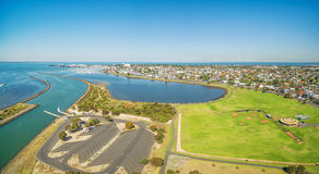 Aerial panorama of Greenwich Bay and reserve,  Williamstown Subu Stock Photo