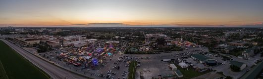 Aerial panorama Hallandale carnival scenic at twilight royalty free stock image
