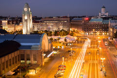 Helsinki Centre Aerial View. High Angle View of Helsinki Downtown on a Summer Night stock images