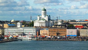 Aerial panorama of Helsinki, Finland stock footage