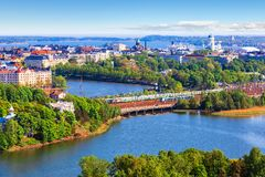 Aerial panorama of Helsinki, Finland. Scenic summer aerial panorama of the Old Town architecture in Helsinki, Finland Royalty Free Stock Photography