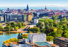 Aerial panorama of Helsinki, Finland royalty free stock photography