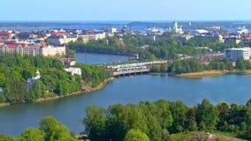 Aerial panorama of Helsinki, Finland stock video footage