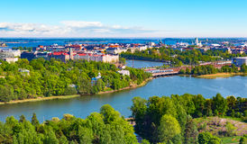 Aerial panorama of Helsinki, Finland stock photography