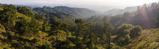 Aerial Panorama of Hills in East Bay, Northern California stock photo
