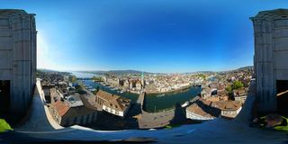 Aerial panorama of the historic center of Zurich Stock Images