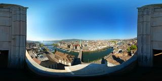 Aerial panorama of the historic center of Zurich Stock Photo