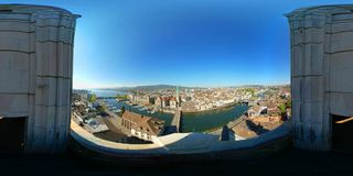 Aerial panorama of the historic center of Zurich Royalty Free Stock Images