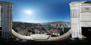 Aerial panorama of the historic center of Zurich Royalty Free Stock Photography
