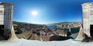 Aerial panorama of the historic center of Zurich Royalty Free Stock Photo