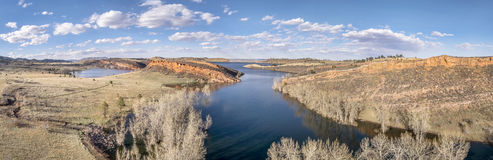Aerial panorama of Horsetooth Reservoir. Near Fort Collins, Colorado, early spring scenery with high water level Stock Images