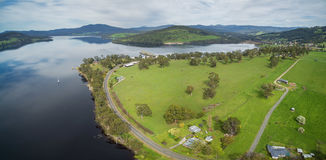 Aerial panorama of Huon River and Valley, Tasmania Royalty Free Stock Photos